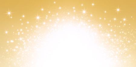 爆発的な星明りの光沢のあるゴールドの背景 写真素材