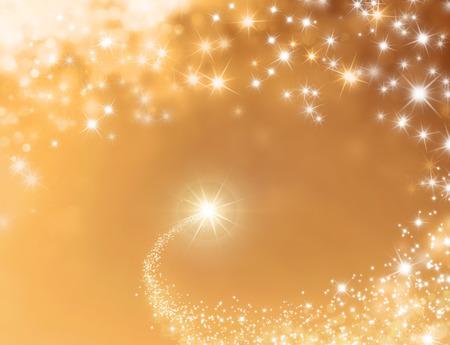 Shooting star maken zijn weg door een glanzende gouden achtergrond
