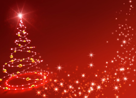 Kort kerstboom op glanzende vonken rode achtergrond Stockfoto