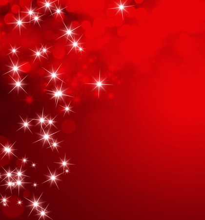 雨が降ってスターライトと光沢のある赤い背景