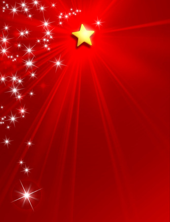 starlight: Glowing star on red background with starlight raining down Stock Photo
