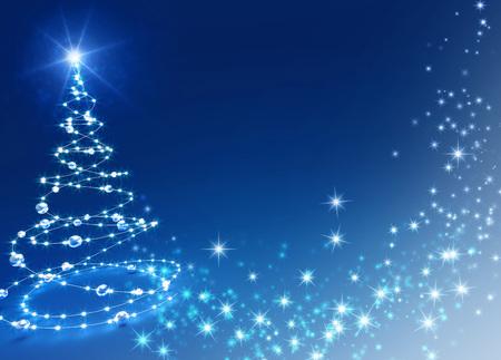 card background: Albero di Natale astratto su sfondo lucido blu