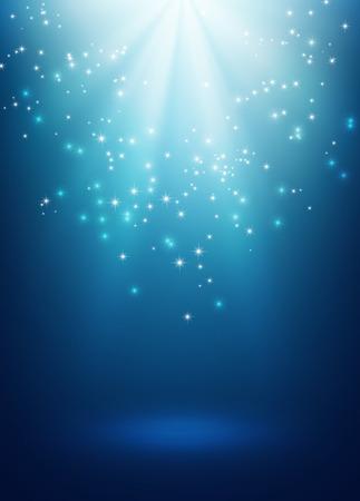 雨が降ってスターライトと光沢のある青色の背景