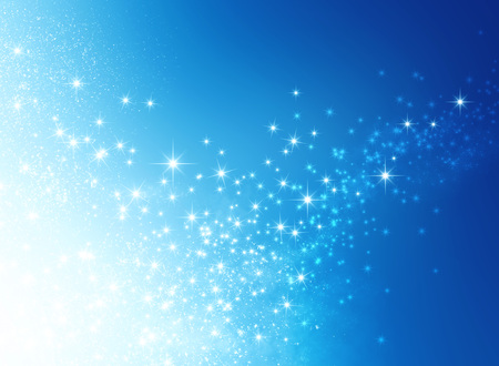 Glanzende blauwe achtergrond met sterlicht explosie