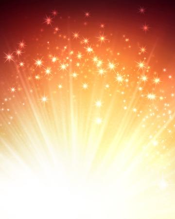 feestelijk: Glanzende gouden achtergrond met sterrenlicht explosie Stockfoto