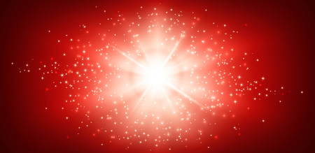 christmas red: Shiny red background with star light explosion Stock Photo