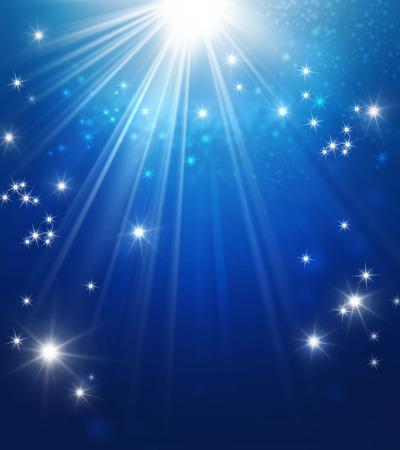 estrella: Fondo azul brillante con las estrellas llueven