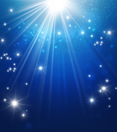 shining star: Shiny blue background with starlight raining down