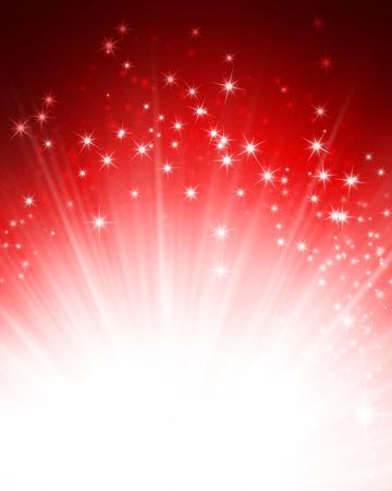 Glanzend rode achtergrond met sterrelicht explosie Stockfoto - 45955796