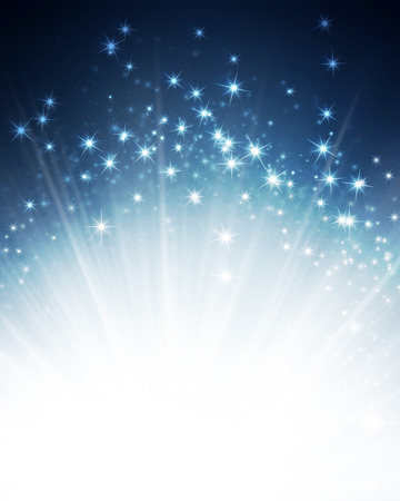 スターライト爆発と光沢のある青色の背景