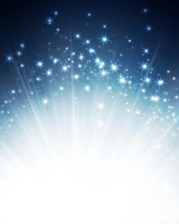 Glanzende blauwe achtergrond met sterlicht explosie Stockfoto - 45955798