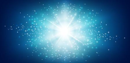 星の光の爆発で光沢のある青色の背景