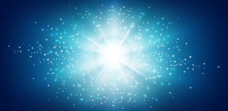 Shiny blue background with star light explosion Imagens