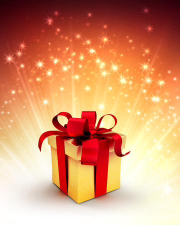 starlight: Gift box on shiny gold background with starlight explosion Stock Photo