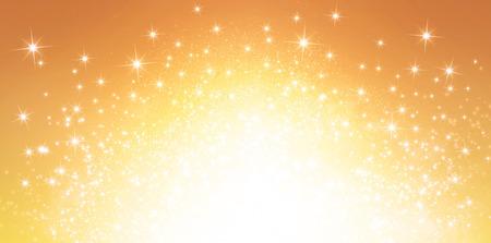 célébration: Brillant fond d'or dans les lumières explosifs étoiles