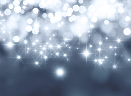starlight: Shiny silver background in starlight and sparkles Stock Photo