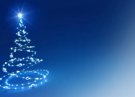 Abstrakter Weihnachtsbaum auf glänzenden blauen Hintergrund Standard-Bild - 46009290