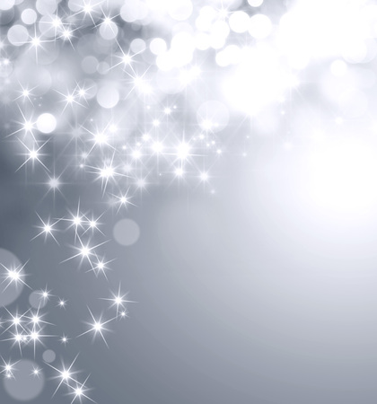 Shiny silver background with star lights raining down Stockfoto
