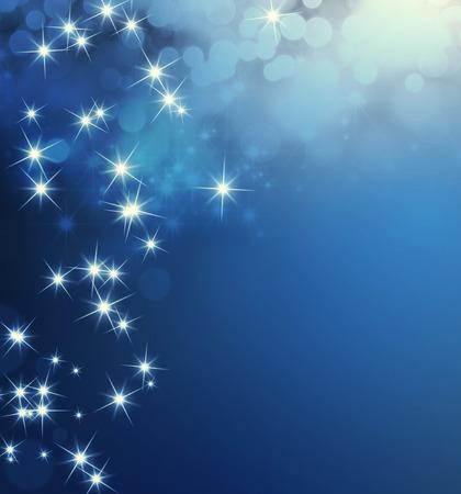 雨が降りつ星のライトと光沢のある青色の背景