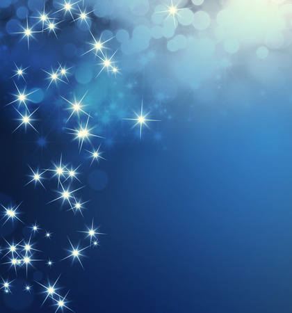 Shiny blue background with star lights raining down Imagens
