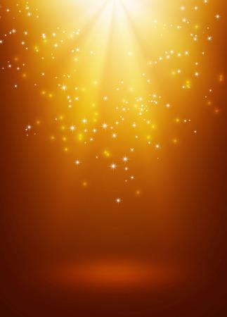 雨が降りつ星のライトと光沢のあるゴールドの背景
