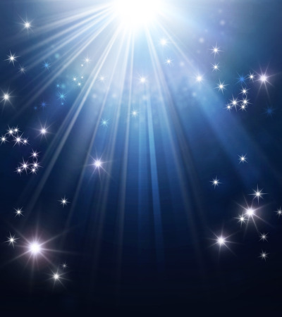 down lights: Shiny blue background with star lights raining down Stock Photo