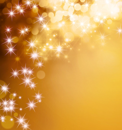 Shiny gold background with star lights raining down