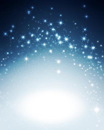 estrellas de navidad: fondo azul brillante brillante con luces de estrellas Foto de archivo