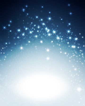 Shiny sparkling blue background with star lights Imagens