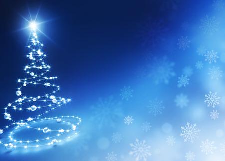 光沢のある青い背景上に抽象的なクリスマス ツリー