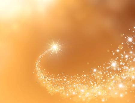 etoiles filante: Etoile filante de faire son chemin � travers un fond d'or Banque d'images