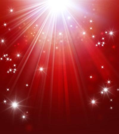 iluminado: Fondo rojo brillante con luces de estrellas llueven Foto de archivo