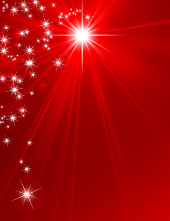 Glowing star on red background with starlight raining down Imagens