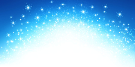 Shiny blue background in explosive star lights Stock Photo