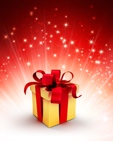 starlight: Golden gift box with red ribbon on a shiny red background with starlight explosion Stock Photo