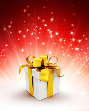white ribbon: White gift box with gold ribbon on a shiny red background with starlight explosion