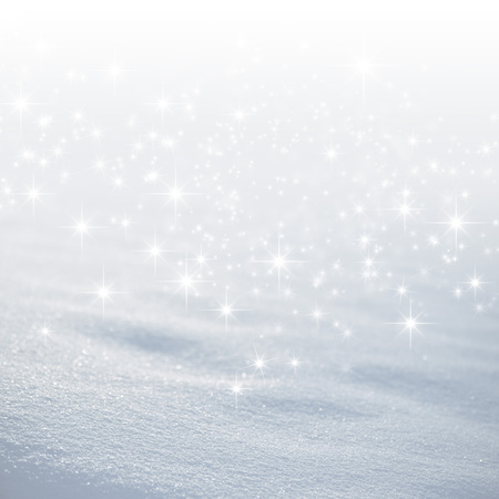 Bright snow background with star lights raining down