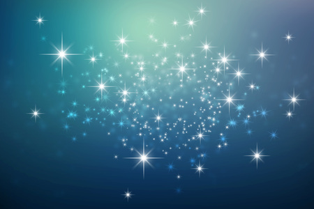 Shiny blue night background with star lights explosion