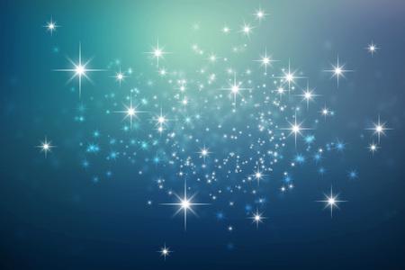 Fondo brillante azul de la noche con las luces de estrellas explosión