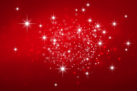 Shiny red Christmas background with star lights explosion Stock Photo