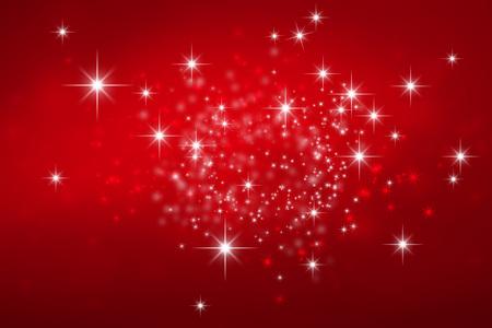 kutlama: Yıldız ışıklar patlama ile parlak kırmızı Noel arka plan Stok Fotoğraf