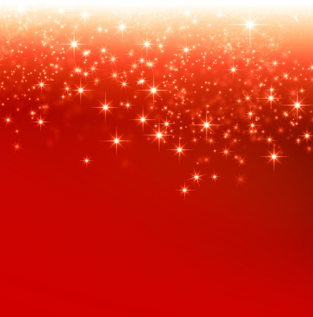 down lights: Shiny red Christmas background with star lights falling down