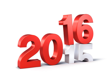 3D Nieuwjaar rode 2016 meer dan 2015 op wit wordt geïsoleerd Stockfoto - 47373007