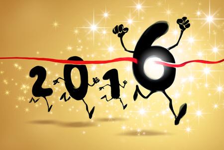 lijntekening: 2016 Nieuwjaar tekens overschrijden van de finishlijn in een gloeiende sterren explosie Stockfoto
