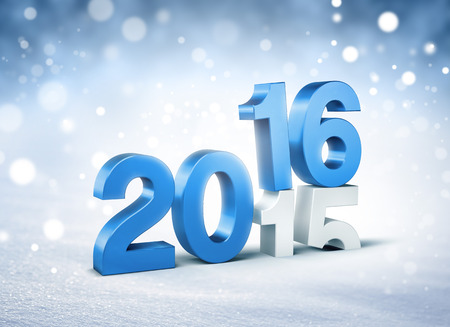 turn of the year: 3D New Year blue 2016 over 2015 on a winter snow background