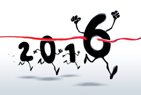 turn of the year: 2016 New Year characters crossing the finish line