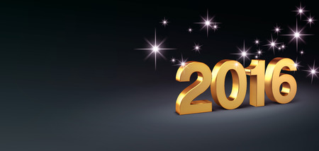turn of the year: 3D New Year gold 2016 on a black background with stars Stock Photo
