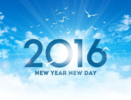 日の出と鳥の飛行の青い空で新年 2016年型の高 写真素材