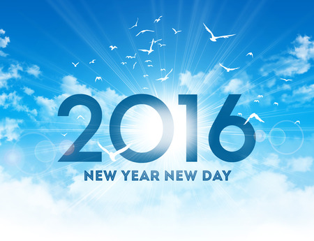 New Year 2016 type high in blue sky with the sunrise and birds flight Banque d'images