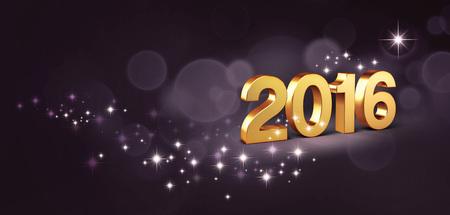 festive: 3D New Year gold 2016 on festive black background